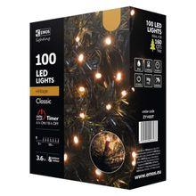 100 LED reťaz, 10m, jantarová, časovač