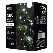 100 LED reťaz, 10m, studená biela, časovač