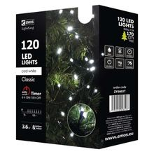 120 LED reťaz, 12m, studená biela, časovač